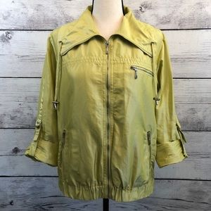 Chicos 1 Chartreuse Jacket Pockets Lightweight M